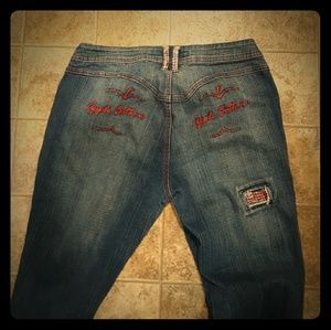 Apple Bottom Bling Cuffed Jeans. Size 10 Used